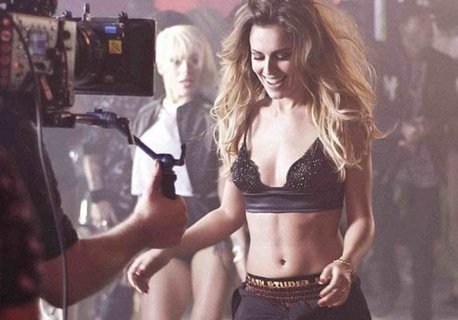 Cheryl Cole during the filming of a dance number