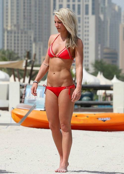 Chloe Madeley in red bikini in Dubai in 2015