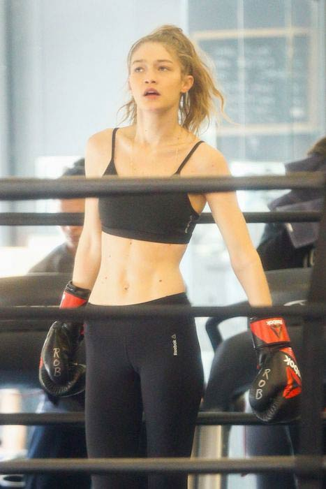 Gigi Hadid working out at Gotham Gym in New York on January 16, 2017
