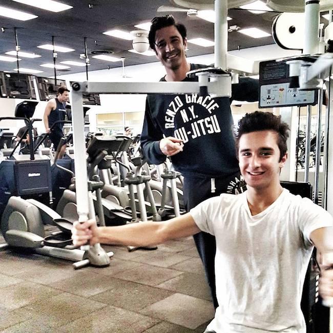 Gilles Marini and his son in the Jiu Jitsu studio
