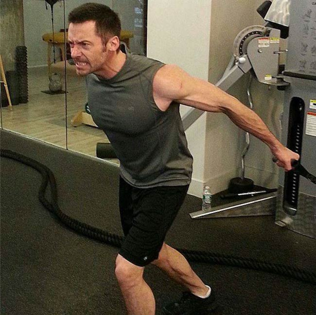 Hugh Jackman in the middle of workout at the gym