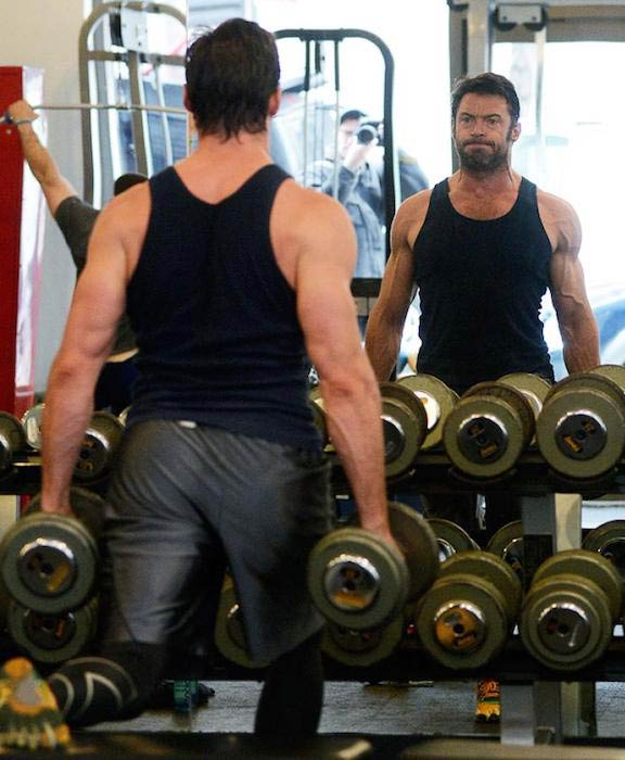 Hugh Jackman working out for Wolverine