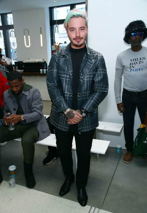 J Balvin at the EFM Engineered For Motion Autumn/Winter 2017 Runway Show in January 2017