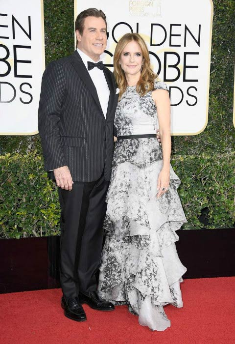 John Travolta and Kelly Preston at the 2017 Golden Globe Awards