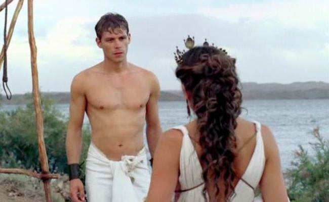 Joseph Morgan shirtless in a still from The Vampire Diaries