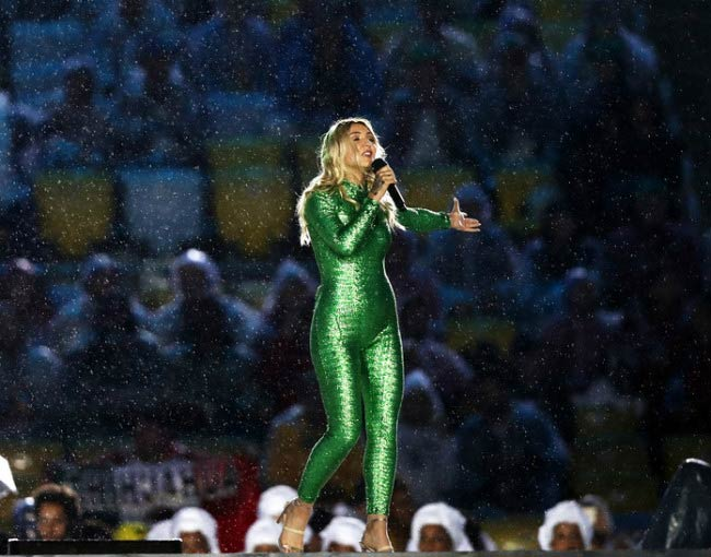Julia Michaels performing during the Closing Ceremony of the Rio Olympic Games in August 2016