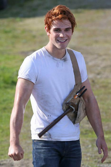 KJ Apa on the sets of Riverdale in Vancouver in April 2016