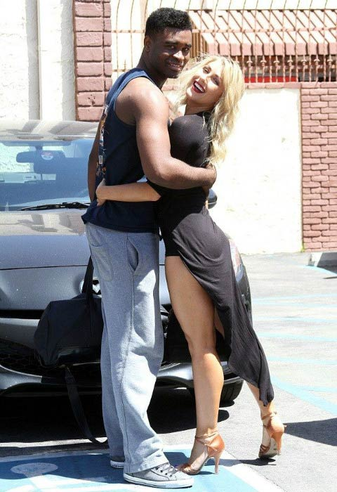 Keo Motsepe and Emma Slater outside the Dancing with the Stars studio in 2015