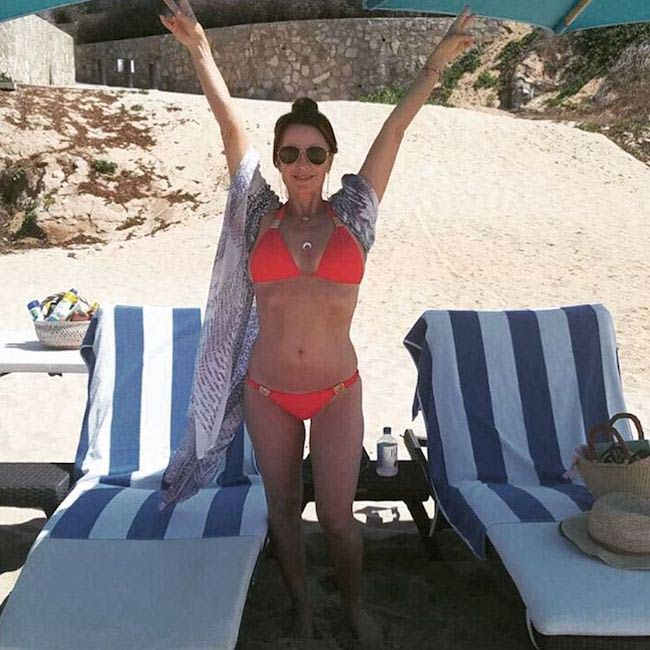 Kyle Richards in swimsuit during a vacation in Cabo, Mexico in 2016