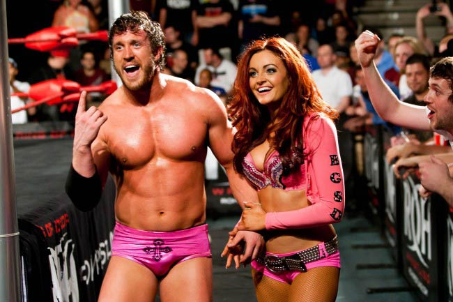 Maria Kanellis and Mike Bennett after a wrestling match