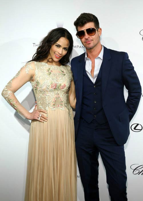Paula Patton and Robin Thicke at The Weinstein Company Party in May 2013 in Cannes, France