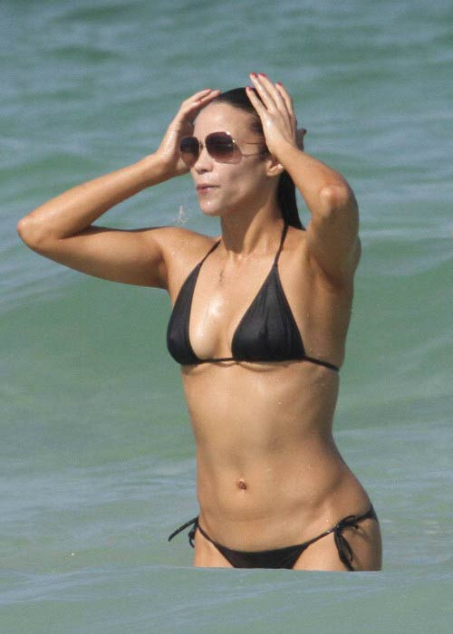 Paula Patton in bikini on Miami beach, Florida in July 2010
