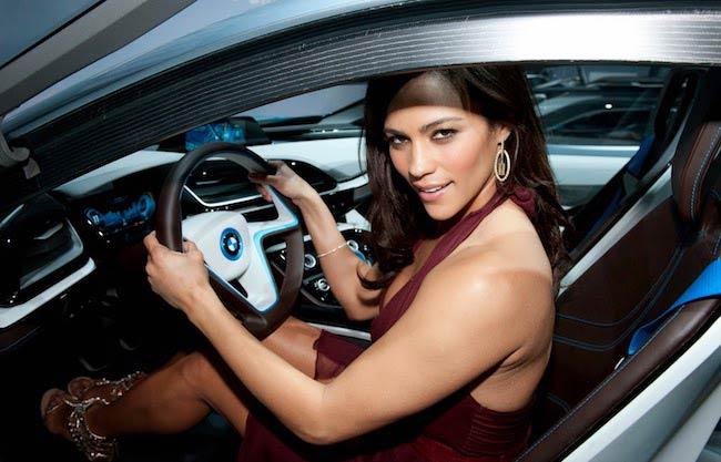 Paula Patton driving BMW i8