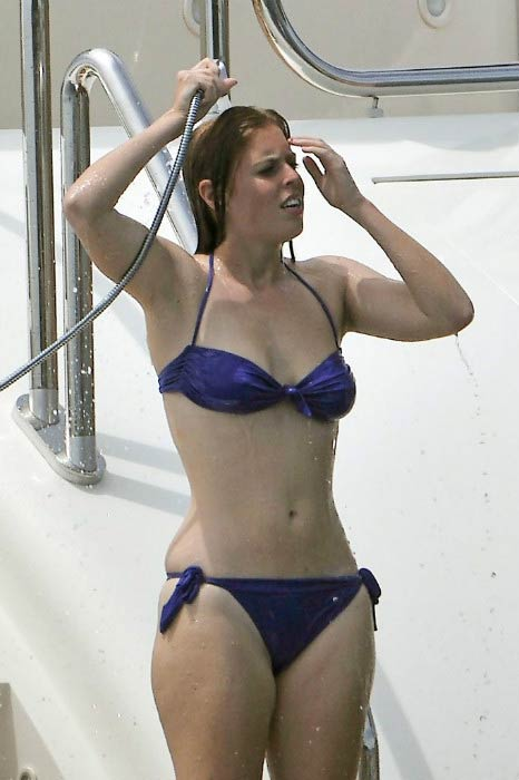Princess Beatrice on a luxury yacht in July 2010