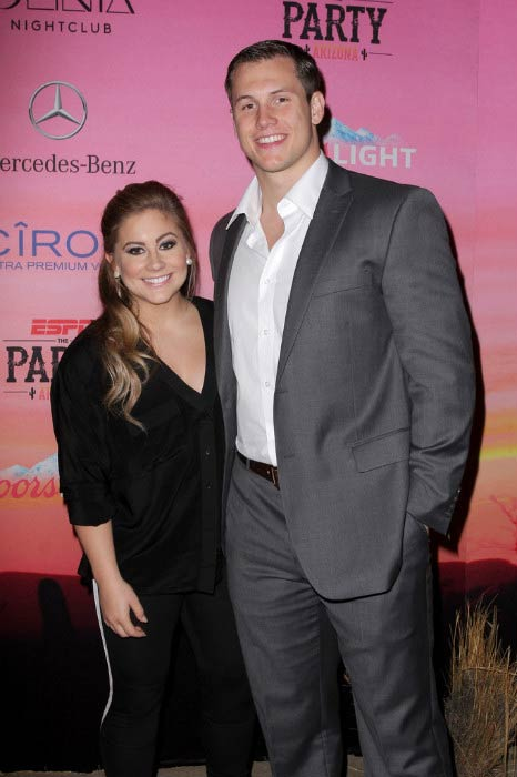 Shawn Johnson and Andrew East at the ESPN the Party in January 2015