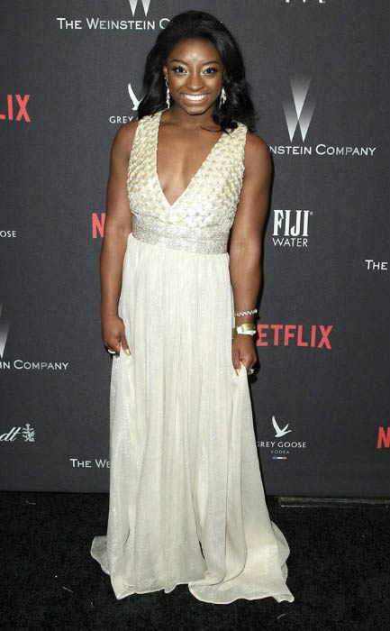 Simone Biles at The Weinstein Company and Netflix Golden Globe Party in January 2017