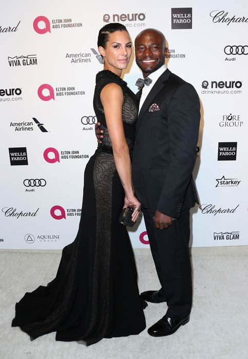 Taye Diggs and Amanza Smith Brown at the 2015 Elton John AIDS Foundation's Oscar Viewing Party
