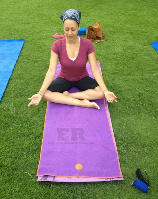 Tia Mowry doing Yoga for her new DVD