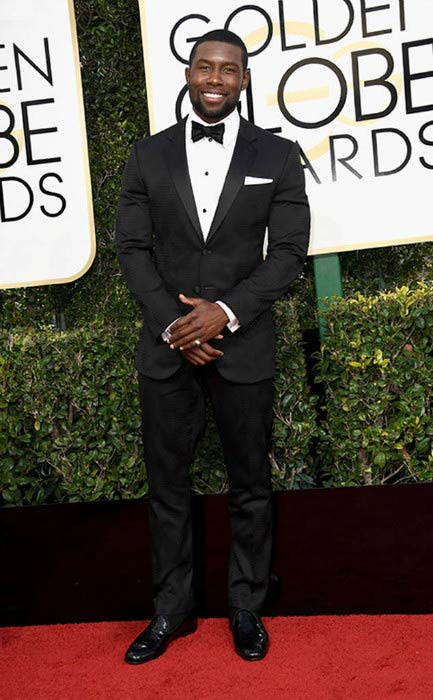 Trevante Rhodes at the 2017 Golden Globe Awards