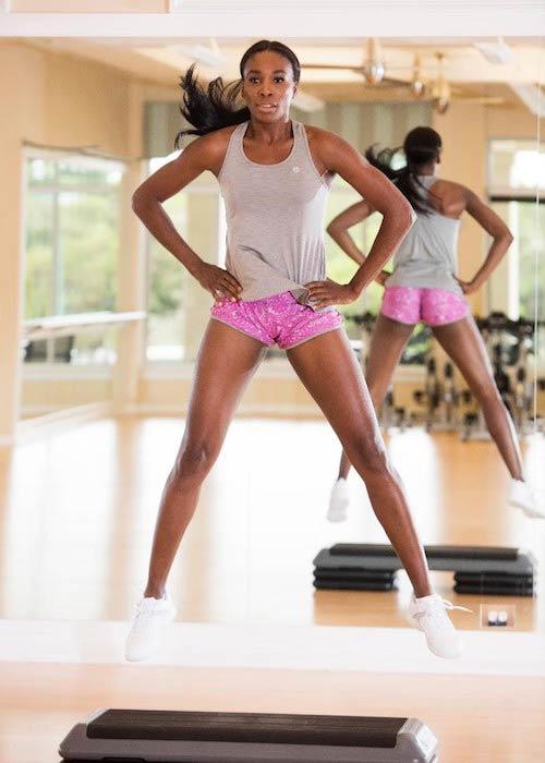 Venus Williams exercising using stepper