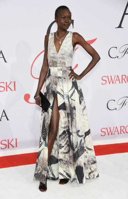 Alek Wek at the CFDA Fashion Awards in June 2015 in New York City