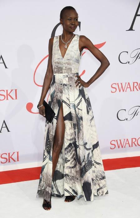 Alek Wek at the CFDA Fashion Awards in June 2015 in New York City