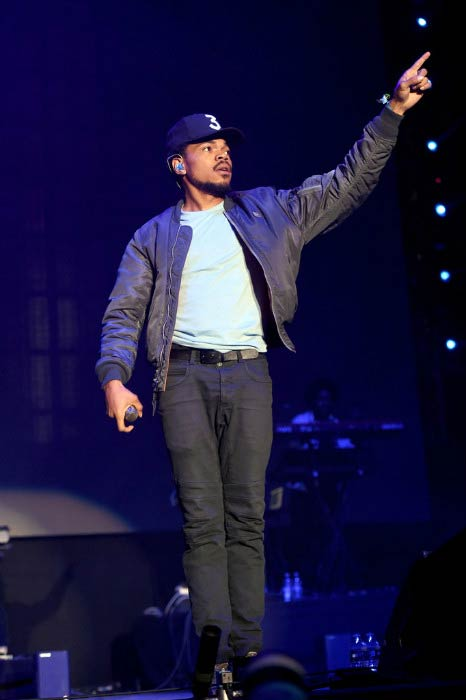 Chance The Rapper performing onstage during day 1 of Tyler, the Creator's 5th Annual Camp Flog Gnaw Carnival in November 2016