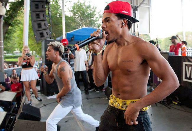 Chance the Rapper shirtless and Vic Mensa performing at Lollapalooza Day 2 in 2014
