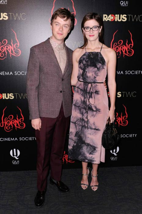 "Dane DeHaan and Anna Wood at the RADiUS TWC and The Cinema Society New York Premiere of ""Horns"" in October 2014"