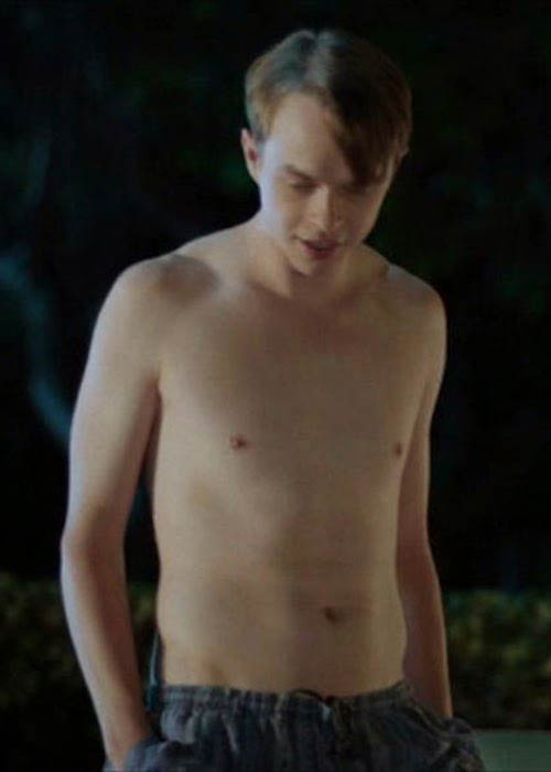 "Dane DeHaan shirtless in a scene from ""Life After Beth"" in 2014"