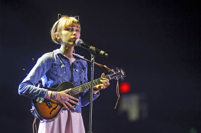 Grace VanderWaal performing at the WE Day in March 2017