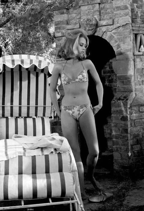 Jane Fonda in a flowered bikini during a scene from the film, Joy House in 1964