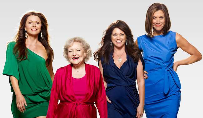 "Jane Leeves, Betty White, Valerie Bertinelli and Wendie Malick (From Left) in a photoshoot for ""Hot in Cleveland"" (June 2010 – June 2015)"