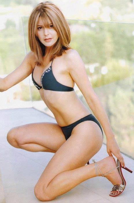 Jane Leeves bikini print ad photoshoot 1990's