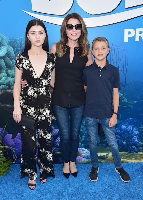 "Jane Leeves with her son and daughter at the premiere of ""Finding Dory"" in June 2016"