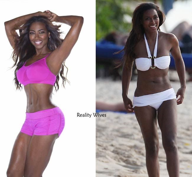 On left – Kenya Moore's cover photo for the Booty Bootcamp DVD released in March 2013. On right - Kenya's bikini photo clicked on a beach in Barbados in December 2012