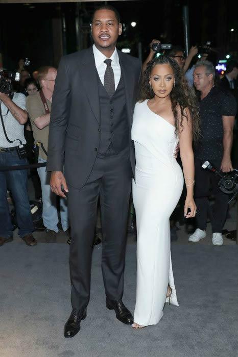 La La Anthony and Carmelo Anthony at the Tom Ford fashion show during New York Fashion Week in September 2016