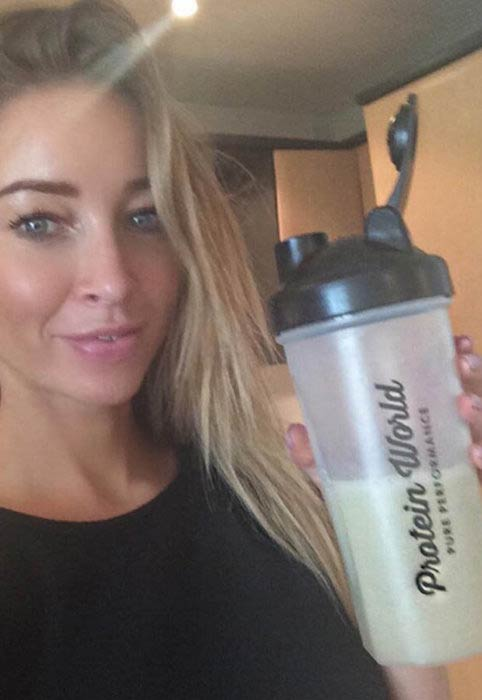 Lauren Pope with the Protein World shake