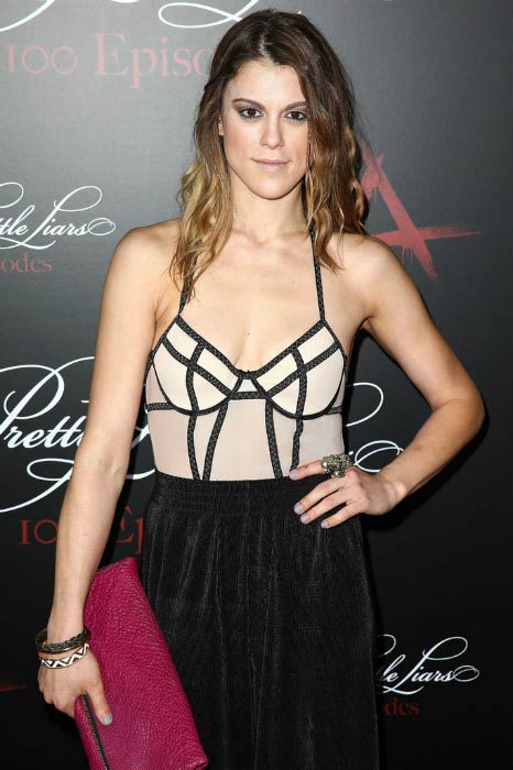 Lindsey Shaw at the Pretty Little Liars 100th episode celebration in May 2014
