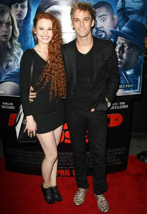 "Madelaine Petsch and Aaron Carter at the premiere of ""A Haunted House 2"" in April 2014"