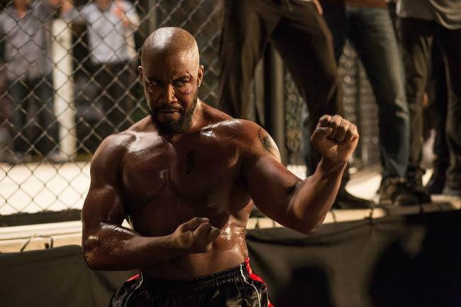 Michael Jai White training for a fighting scene