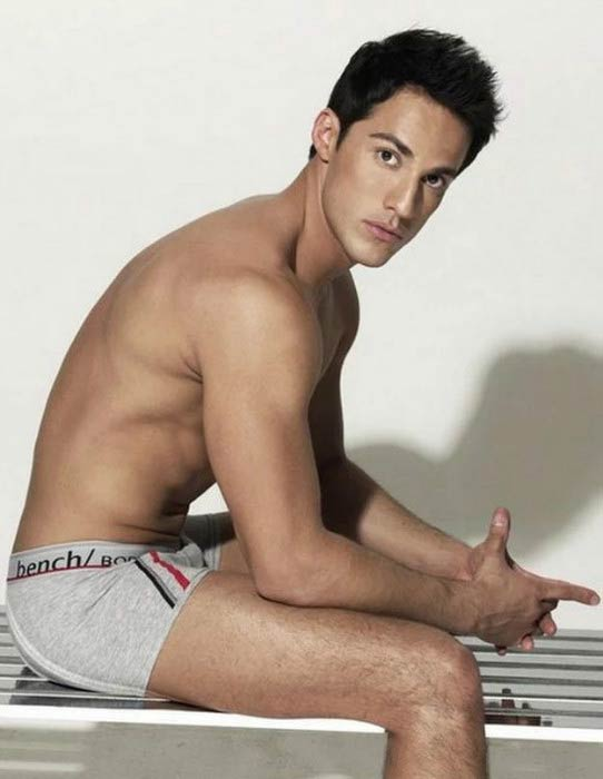 Michael Trevino posing for underwear photoshoot in 2011