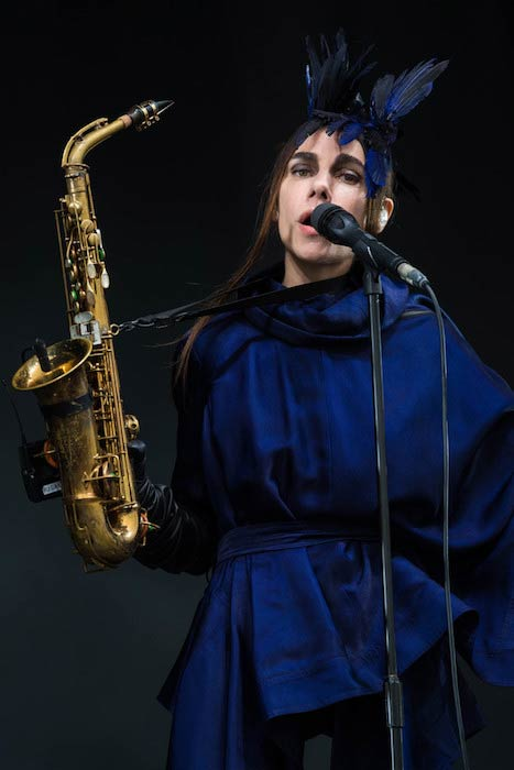 PJ Harvey performing on Day 3 of the Glastonbury Festival at Worthy Farm, England on June 26, 2016