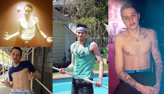 Getting healthier with each passing year: Extreme Left – Pete Davidson in 2014, Middle – Pete in April, 2016 and Right – Pete in April, 2017