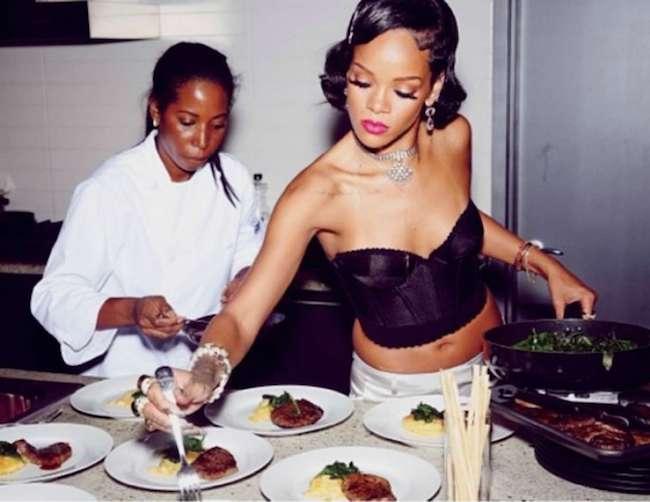 Rihanna helping Debbie Solomon in the kitchen