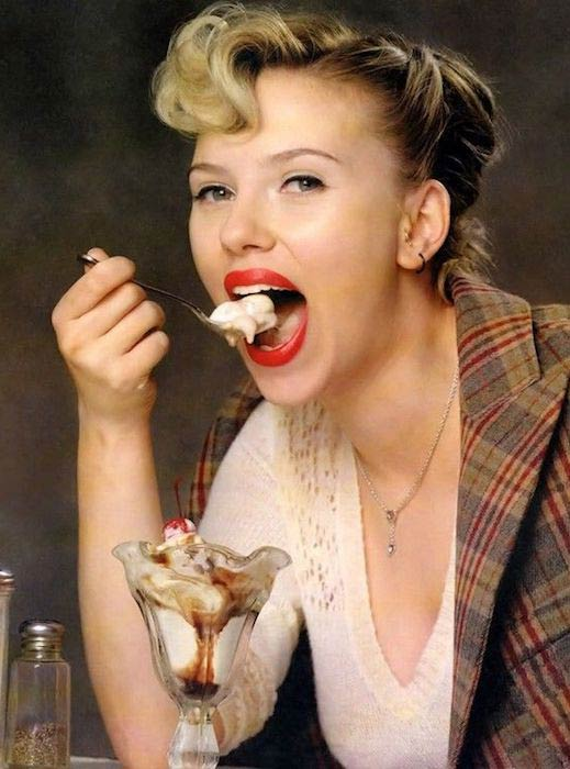 Scarlett Johansson eating ice-cream
