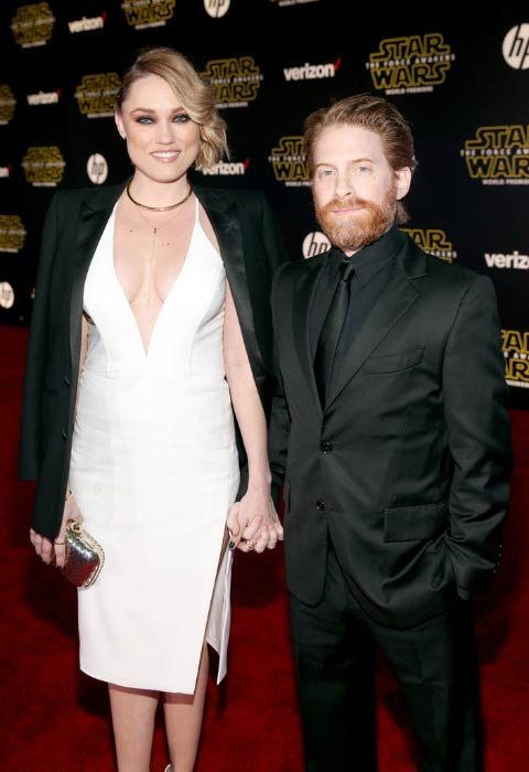 "Seth Green and Clare Grant at the World Premiere of ""Star Wars: The Force Awakens"" in December 2015"