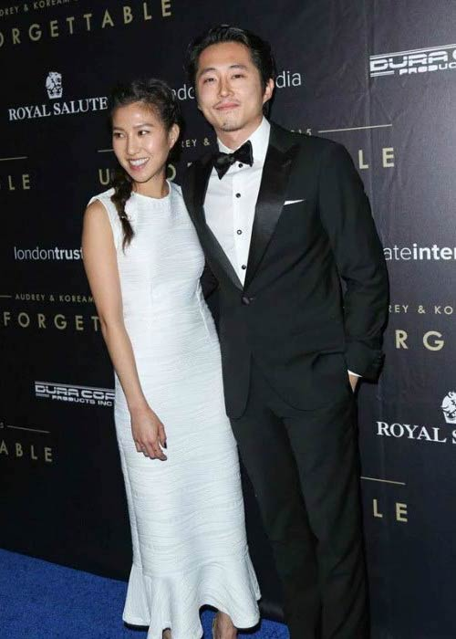 Steven Yeun and his wife Joana Pak at the Asian American Awards Unforgettable Gala in December 2015