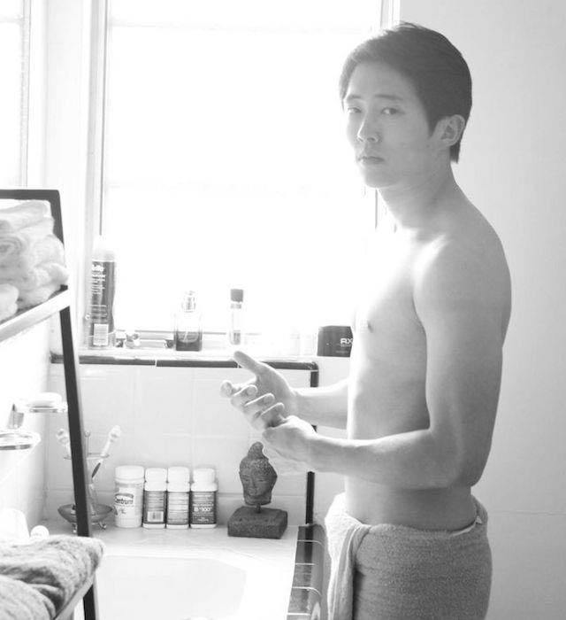 Steven Yeun shirtless body