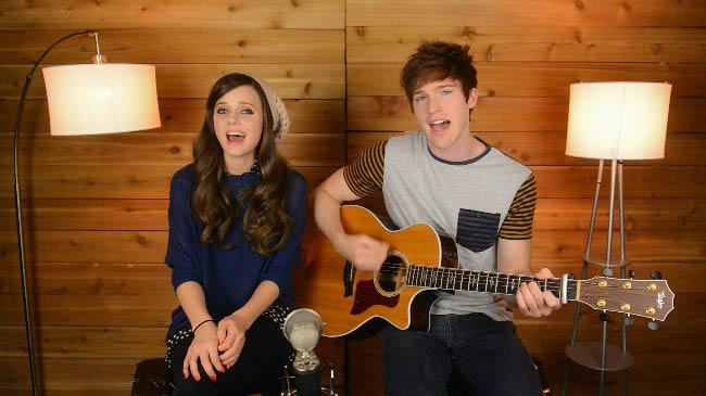 Tiffany Alvord and boyfriend Tanner Patrick in a still from a YouTube video in 2014